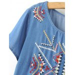 Stylish Round Neck Short Sleeve Ethnic Embroidery Women's Dress deal