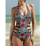 Alluring Halter Full Print Hollow Out Women's One-Piece Swimsuit