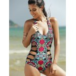 cheap Alluring Halter Full Print Hollow Out Women's One-Piece Swimsuit
