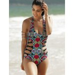 Alluring Halter Full Print Hollow Out Women's One-Piece Swimsuit deal