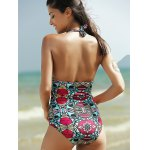 best Alluring Halter Full Print Hollow Out Women's One-Piece Swimsuit