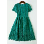 Short Sleeve Lace Openwork Dress