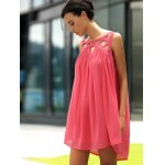 Stylish Round Neck Sleeveless Hollow Out Dress For Women deal