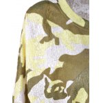 Fashionable  Round Collar 3/4 Sleeve Camouflage T-shirt deal