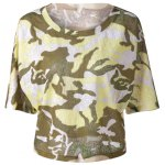 Fashionable  Round Collar 3/4 Sleeve Camouflage T-shirt