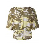 cheap Fashionable  Round Collar 3/4 Sleeve Camouflage T-shirt