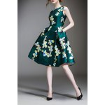 Waisted Corset Clover Print Dress deal