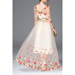 cheap Floral Embroidered Bridal Dress