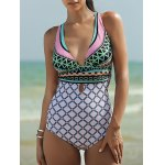 Fashionable Plunging Neck Backless One-Piece Swimsuit For Women