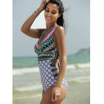 cheap Plunging Neck Backless One-Piece Garphic Swimsuit