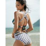 Plunging Neck Backless One-Piece Garphic Swimsuit deal