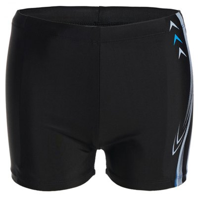 Modish Lace-Up Waterproof Arrow and Letter Print Quick-Dry Polyester+Spandex Boxers Swimming Trunks For Men