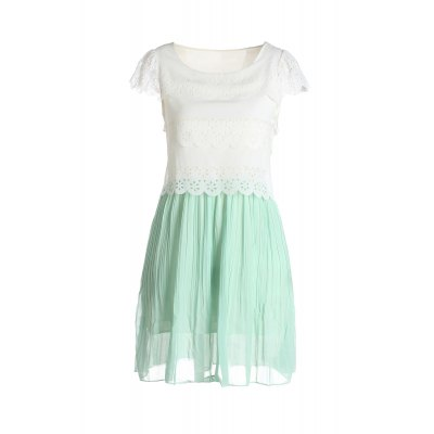 Fresh Ladylike V-Neck Layered Ruffles Hem Chiffon Women's Pleated  Dresses