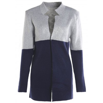 Casual Long Sleeves Color Block Cardigan For Women