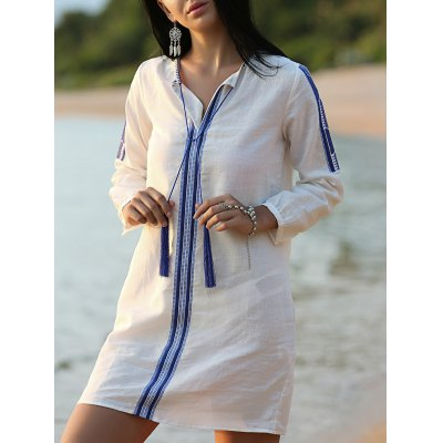 Embroidered White Shift Dress