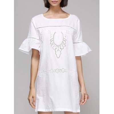 Chic Women's Flare Sleeve Embroidery Dress