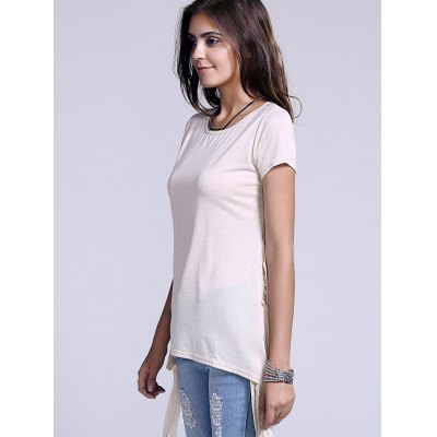 Chic Scoop Neck Side Slit Fringed Womens T-ShirtTees<br>Chic Scoop Neck Side Slit Fringed Womens T-Shirt<br><br>Material: Cotton Blends,Polyester,Spandex<br>Clothing Length: Regular<br>Sleeve Length: Short<br>Collar: Scoop Neck<br>Style: Fashion<br>Season: Spring,Summer<br>Pattern Type: Solid<br>Weight: 0.230kg<br>Package Contents: 1 x T-Shirt