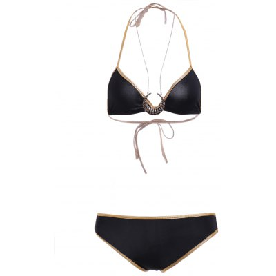 Stylish Color Block Halter Neck Bikini Set