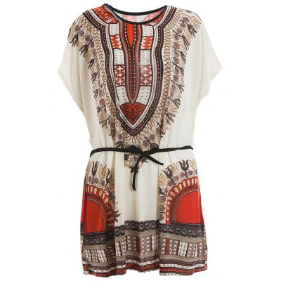 V-Neck Retro Style Ethnic Pattern Batwing Dress For Women