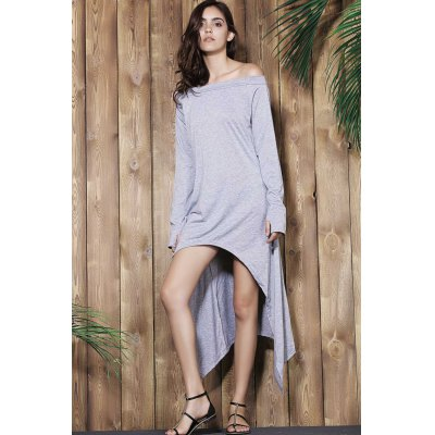 Casual Skew Neck Solid Color Long Sleeve Asymmetric Dress For Women