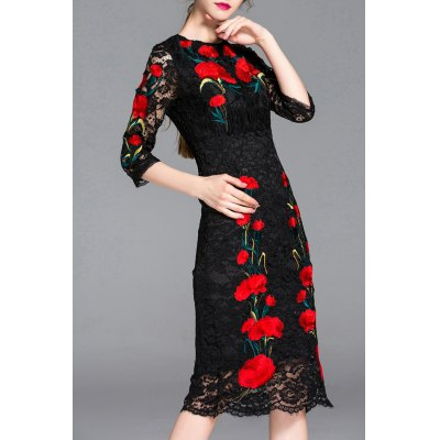 Hollow Out Flower Embroidery Lace Dress