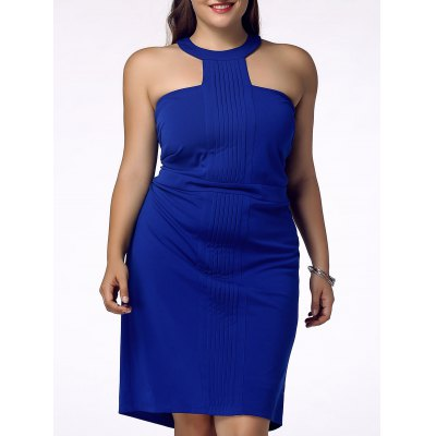 Plus Size Racerfront Backless Sheath Dress For Women
