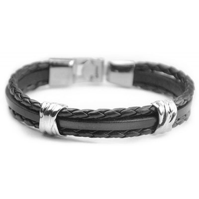 Multilayer Knitted PU Leather Chain Strand Bracelet For Men