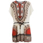Retro Style V-Neck Ethnic Pattern Batwing Dress For Women