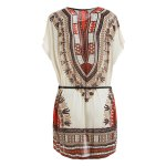 cheap Retro Style V-Neck Ethnic Pattern Batwing Dress For Women