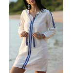 Casual Embroidered White Women's Shift Dress