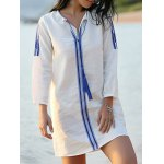 Casual Embroidered White Women's Shift Dress photo