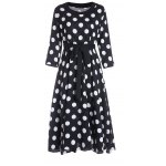 3/4 Sleeves Scoop Neck Polka Dot Pattern Ladylike Women's Dress