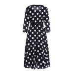 cheap 3/4 Sleeves Scoop Neck Polka Dot Pattern Ladylike Women's Dress