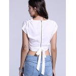 Chic Plunging Neck Zippered Plain Crop Top for sale