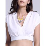 Chic Plunging Neck Zippered Women's Crop Top