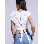 best Chic Plunging Neck Zippered Plain Crop Top