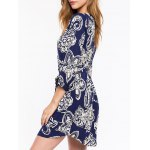 cheap Casual Front Button Closure Printed Women's Blue Dress
