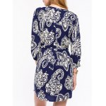 Casual Front Button Closure Printed Women's Blue Dress deal