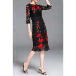 Lace Hollow Out Flower Embroidery Dress deal
