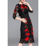 Lace Hollow Out Flower Embroidery Dress