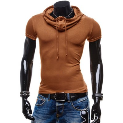 Summer Fashion Piles Collar Slimming Solid Color Button Design Short Sleeve Polyester T-Shirt For Men