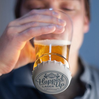 Hopped Up Inverted Silicone Lid Transparent Glass Beer Cup