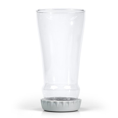 Hot Sale Creative Hopped Up Inverted Silicone Lid Transparent Glass Beer Cup