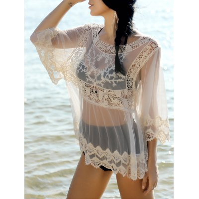 Sweet Spliced Scoop Neck Long Sleeve Cover-Up Blouse