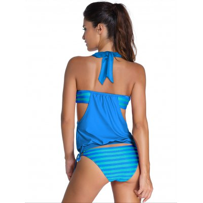 Halter Hollow Out Striped Tankini SetWomens Swimwear<br>Halter Hollow Out Striped Tankini Set<br><br>Swimwear Type: Tankini<br>Gender: For Women<br>Material: Polyester<br>Bra Style: Padded<br>Support Type: Wire Free<br>Neckline: Halter<br>Pattern Type: Striped<br>Waist: Natural<br>Elasticity: Micro-elastic<br>Weight: 0.250kg<br>Package Contents: 1 x Top  1 x Briefs