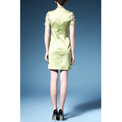 Bird Embroidered Cheongsam DressDesigner Dresses<br>Bird Embroidered Cheongsam Dress<br><br>Material: Polyester,Silk<br>Composition: 70% Polyester,30% Silk<br>Dresses Length: Mini<br>Neckline: Mandarin Collar<br>Sleeve Length: Short Sleeves<br>Waist: Natural<br>Embellishment: Embroidery<br>Pattern Type: Animal<br>With Belt: No<br>Season: Summer<br>Weight: 0.370kg<br>Package Contents: 1 x Dress