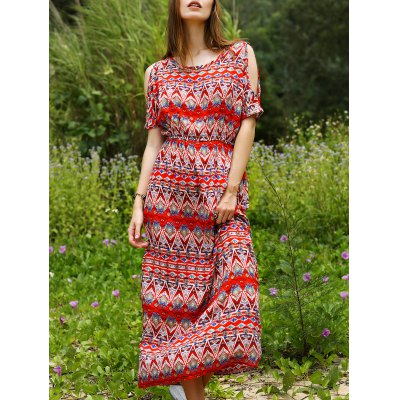 Bohemian Split Sleeve Printed Women's Long Dress