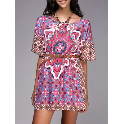 Chic Round Neck Ethnic Style Pattern Print Color  Short Sleeve Dress