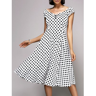 V-Neck Cap Sleeve Polka Dot Midi Dress For Women