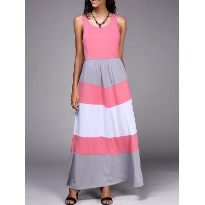 Scoop Neck Sleeveless Striped Spliced Dress
